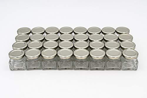 Flaschenbauer - 32 Mini Einmachgläser klein 40 ml Vierkant Gläser mit Schraubverschluss to 43 Silber - Mini Gläser mit Deckel perfekt als Mini Marmeladengläser klein, Honiggläser Mini