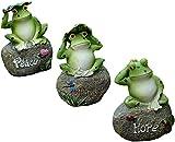 hwljxn Estatuas de jardín de ranas - 3 PCS Frog de 5 pulgadas Estatuas de jardín y estatuillas al aire libre Despacho, Ranas de resina Lindo sentado en piedra Animal escultura Piscina Signo de la casa