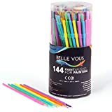 Kids Paint Brushes (144 Pack) - Plastic Paint Brush (17 cm) - Assorted Set of Brushes with Colours Yellow,...