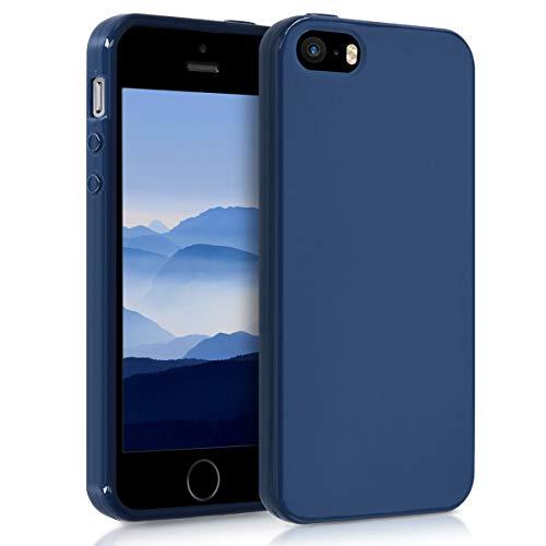 kwmobile Cover Compatibile con Apple iPhone SE (1.Gen 2016) / 5 / 5S - Custodia in Silicone TPU - Backcover Protezione Posteriore- Blu Marino