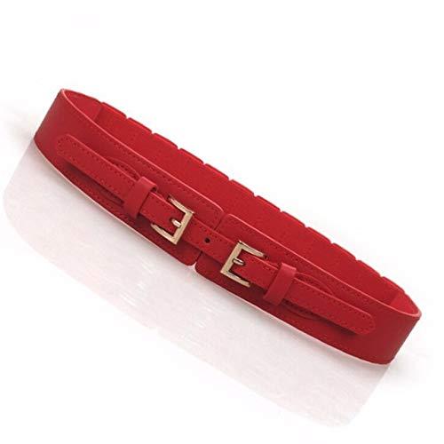 CCBSB Vbncc Korean Version Waist Belts Wide Cummerbunds PU Elastic Red Cummerbunds Coat Decorative Lady Simple Design Dress Skirt Belt (Color : Red)
