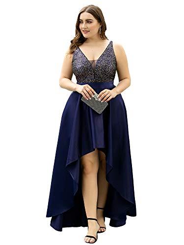 Ever-Pretty Asymétrique Robe de Soirée Bal Grande Taille Longue Femme Paillettes Col V Élégante Bleu Marine 48