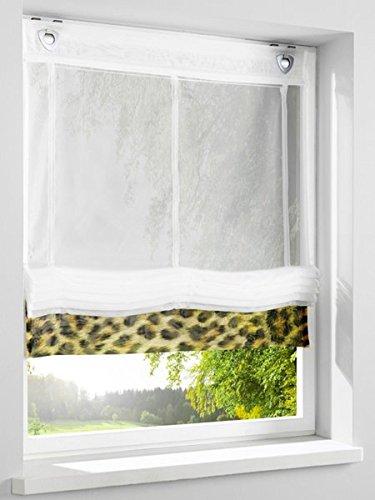 Gardinenbox.eu Raffrollo, Farbe wollweiss, 1 Stück, Heine Home, Größe: ca. HxB: 140x45 cm, Einfache Montage mit Hakenaufhängung und Ösen, Lieferung inklusive Zubehör