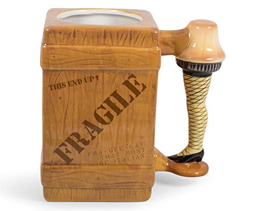 A Christmas Story Leg Lamp Fragile Box 3D Sculpted Coffee Mug   Oversized Ceramic Cup   Festive Drinkware For Coffee, Tea, Hot And Cold Beverages   Holds 20 Ounces