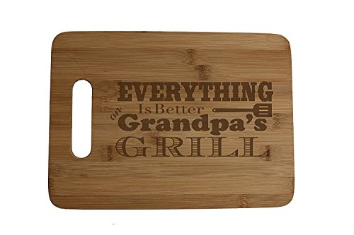 Everything is Better on Grandpa's Grill Engraved Bamboo Wood Cutting Board with Handle Sentimental Father's Day Gift