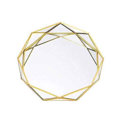 Asttic Spiegel Tray Geometric goldenes Messing Dekorative Tablett Glasschmuck Cosmetic Organizer Tray Schmuck Tray Armband Halskette Ohrringe Ring Speicherplatten-Kuchen-Nachtisch-Platte Ornament