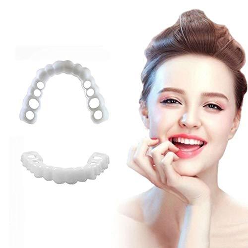 4 Paarer Zahnersatz Zähne Instant Furniers Temporäre Zähne TOP UND Boom False Zähne Kosmetische Zahnfurniere Snap auf Komfort fit Schnellpättungen