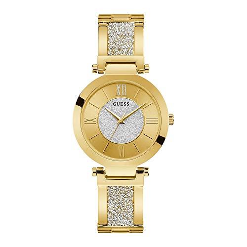 Guess Aurora - Armbanduhr - Damenuhr - Quarzuhr - Edelstahl - goldfarben - poliert - mit Steinen