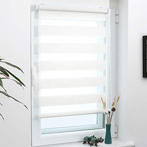 Grandekor Doppelrollo Klemmfix, Duo Rollos für Fenster und Tür ohne Bohren mit Klämmträger, Fensterrollo lichtdurchlässig & verdunkelnd - Leinen 80x120cm (Stoffbreite 76cm)