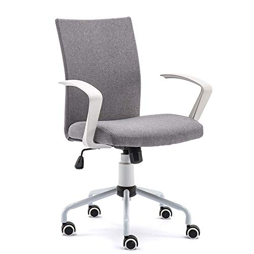 DJ·Wang Grey Desk Chair, Mordern Comfort White Swivel Fabric...