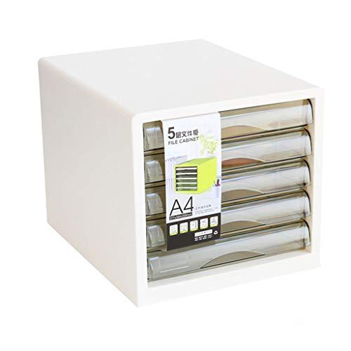 Ablagesysteme Ordnungs system Schreibtisch 5 Schubladenschrank Data Storage Cabinet File Storage Box Kunststoff Multicolor 27X34.4X29.5cm Bürobedarf Schreibwaren (Color : White)