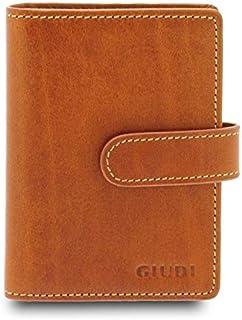 GIUDI ® - Portafoglio in pelle vacchetta, vera pelle, uomo donna unisex, Porta tessere in pelle, Made in Italy. (Nocciola)