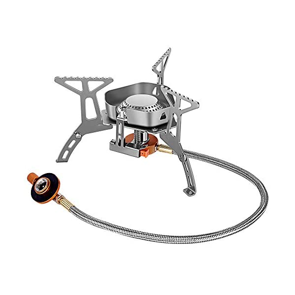 Camping Gas Stove Burner Backpacking Stove Portable Backpack Cooking Camp Stove with Igniter Hiking Outdoor Mini Small Lightweight Windproof Single Stainless Steel Isobutane Propane or Butane Propane
