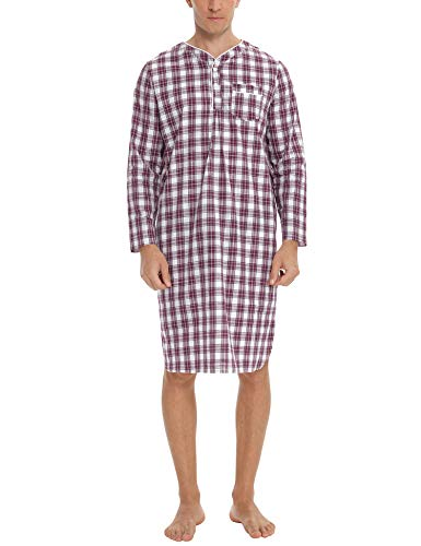 Sykooria Men's Nightshirt Long Sleeve Sleepshirt Cotton Plaid Nightgown Knee Length Sleepwear for Men Loose Pajama