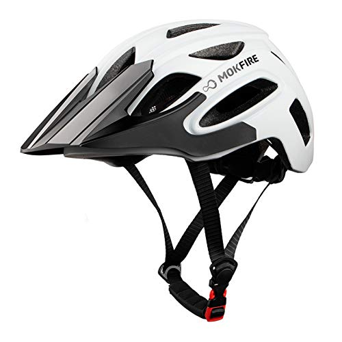 MOKFIRE Bike Helmet for Adults Men Women with USB Light & Visor, Bicycle Cycling Helmets CPSC Certified for Road and Mountain Biking, Adjustable Size 21.26-24 Inches (White)