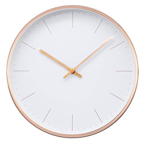 Comodo Casa Metal Wall Clock-Rose Gold Frame-Glass Cover-Non...