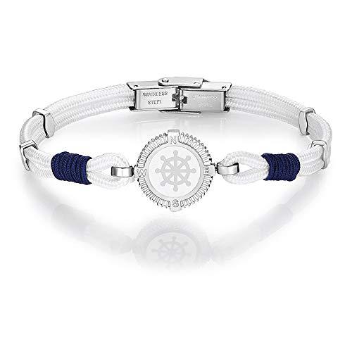 Armband Luca Barra stijl Marinaro touw wit blauw timoon nagellak staal gravure BA1104