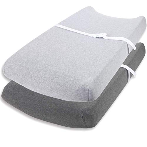 Cuddly Cubs Changing Pad Covers – 2 Pack – Snuggly Soft Plush Cotton Changing Table Covers for Boy Girl – Fits Perfectly on Summer Infant and Other 16 x 32quot Baby Changing Table Pads – Heather Grey