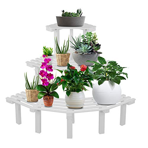 Blumenständer, 3-stufiger Eckblumentopfständer Langlebiger Gartenregal aus Naturkiefernholz Pflanzenregal Leiter Leiterhalter Veranstalter Balkon Schlafzimmer(#2)