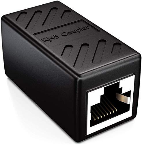 1x CAT6 Kupplung Verbinder Netzwerkkabel Patchkabel Ethernet Kabel Adapter Modular Geschirmt 2X RJ45 Buchse DSL LAN RJ45 Schwarz (1 Stück)