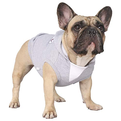 iChoue Pet Clothes Dog Hoodie Sleeveless Hooded Sweatshirt Pullover Sweatshirt French Bulldog Pug Boston Terrier Cotton Pullover Coat Clothing - Grey/Size L