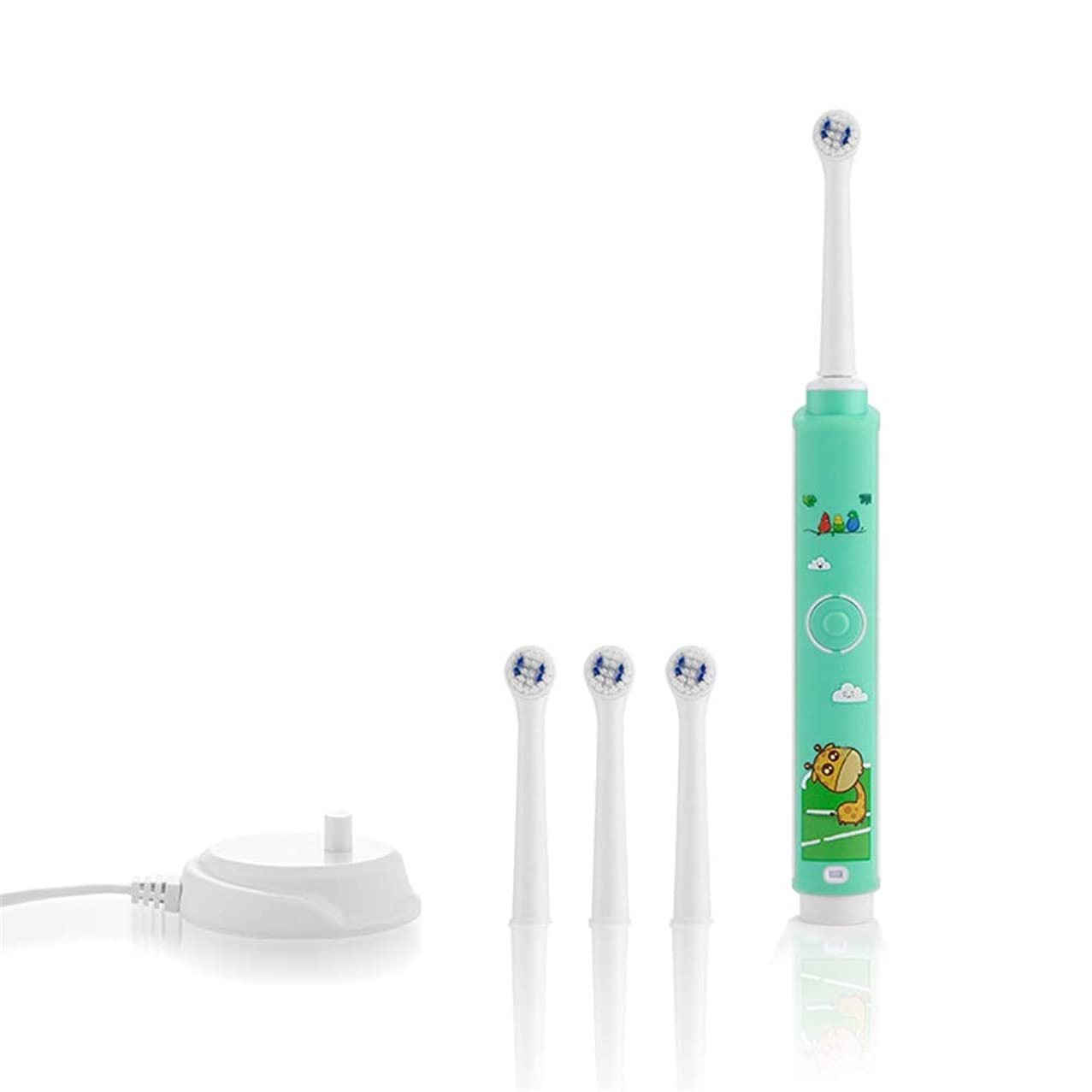 危険なアブセイよく話されるUSB充電ベースソフトヘアクリーン歯ブラシで防水耐久性のある子供用電動歯ブラシ 完璧な旅の道連れ (色 : 緑, サイズ : Free size)