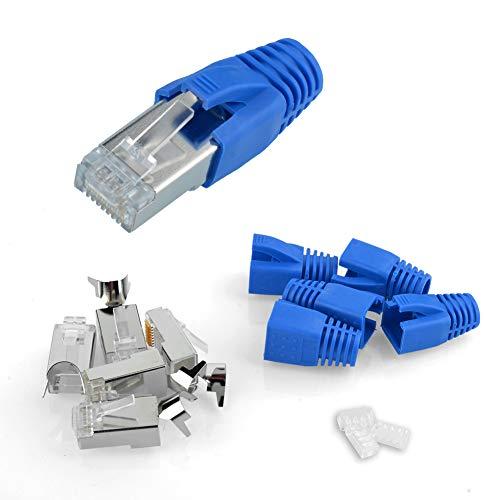 S SIENOC Paquete de 10 Conectores niquelados RJ45 Cat 7A / Cat 7 / Cat 6A Cubiertas de Conectores de conexión de Red Modular + guía + Carcasa