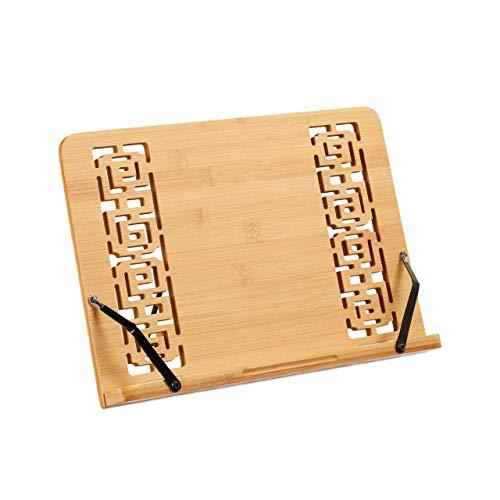 Relaxdays Buchständer, Verstellbarer Kochbuchhalter aus Bambus, 5 Stufen, klappbar, für Tisch, HBT 24 x 34 x 21cm, Natur