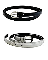 Devil Womens Combo Set Of 2 PU leather belts (Black & White)
