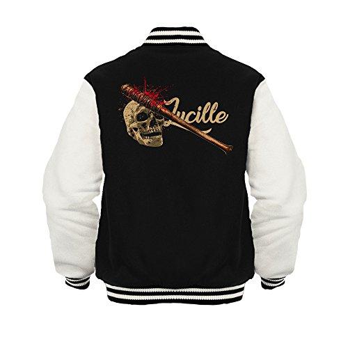 Fashionalarm Herren College Jacke - Lucille Skull   Varsity Baseball Jacket   Fan Sweatjacke zur Serie T-W-D   Dead Walking Negan The Saviors, Farbe:schwarz/weiß;Größe:XL