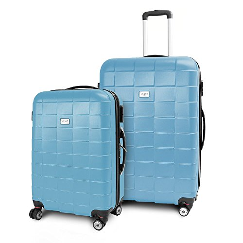 BERWIN Kofferset L + XL 2-teilig Reisekoffer Trolley Hartschalenkoffer ABS Teleskopgriff Modell Squares (Himmelblau)