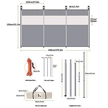 Soekodu Camping Pare-Vent abri de Plage Pare-Brise Pare-Brise Pare-Soleil bâche avec fenêtre supérieure pour Jardin extérieur Caravane poêle à Charbon grilles Barbecue Pique-Nique (Beige)