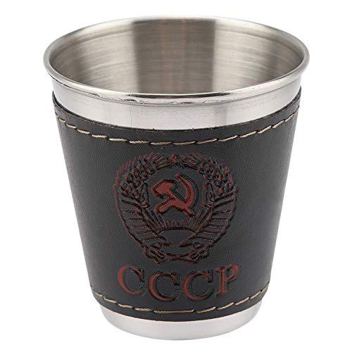 Copa de vino, MAGT 4Pcs 70ml Juego de copa de vino de acero inoxidable de alta calidad con cubierta de cuero para picnic de viaje