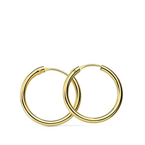 Aros oro amarillo 18k Morgana 16mm - Pendientes de mujer, niña