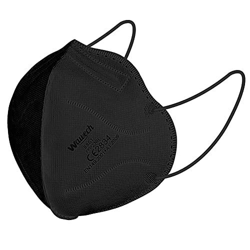 Wawech FFP2 Maske schwarz 50 Stück Atemschutzmaske 5-Lagen Einwegmasken einzeln verpackt Mundschutzmaske CE Zertifiziert