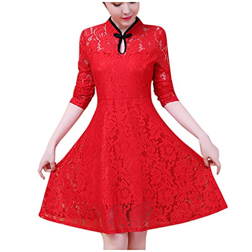 TEELONG Vestido de encaje para mujer, elegante, estilo cheongsam, manga larga, cuello en O, fiesta de noche, cóctel, columpio Rojo rosso XXXL