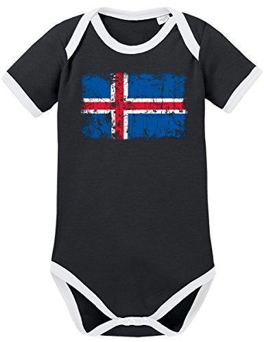 TSP Griechenland Vintage Flagge Fahne Kontrast Baby Body 68 Schwarz