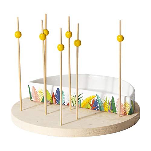 Les Trésors De Lily [Q3260 - Set coupelle + Pics apéritif 'Tropical' - 18 cm