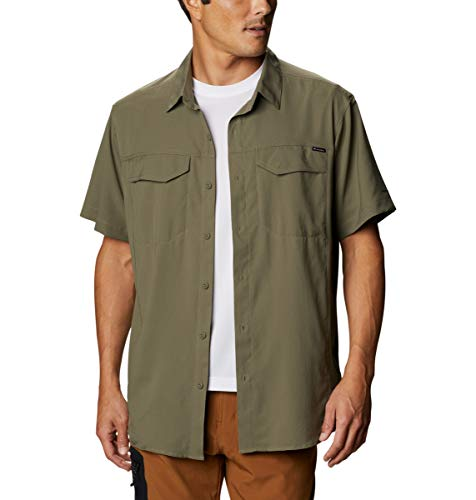 Columbia Camisa de Manga Corta Silver Ridge Lite para Hombre, Hombre, Plata Ridge Lite, Camisa de Manga Corta, 1654311, Verde Piedra, M
