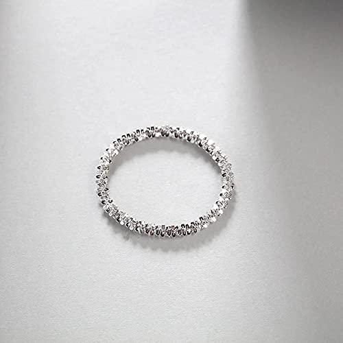 N\C S925 Collar Brillante de Plata esterlina Cadena Simple Cadena Desnuda Collar con Brillo Brillante Anillo Pulsera Conjunto de Tres Piezas
