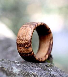 Anello in legno pregiato di zebrano, artigianale uomo donna unisex