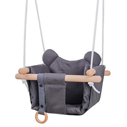MIMIEYES Juego de asiento de madera para bebé con cojines, hecho a mano para colgar en interiores y exteriores, para niños, cómoda decoración de guardería (negro)
