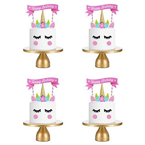 Unicorn Cake Topper, alles Gute zum Geburtstag Cake Topper Set, rosa Einhorn Thema Cupcake Topper für Mädchen Kinder Geburtstagsfeier Jubiläumshochzeit