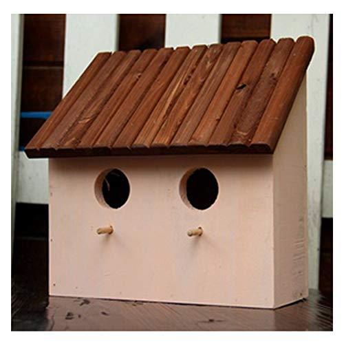 SUIBIAN Jardin Nid d'oiseau, Anti-Corrosion et étanche à l'humidité en Bois Massif écologique Nid d'oiseau Parrot Box, pour intérieur et extérieur décoration Pendentif,Flesh