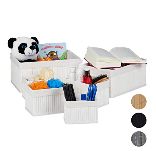 Relaxdays bewaarmand set van 6, met stoffen bekleding, bamboe, rechthoekig, badkamer, accessoires, decoratieve organizer, wit