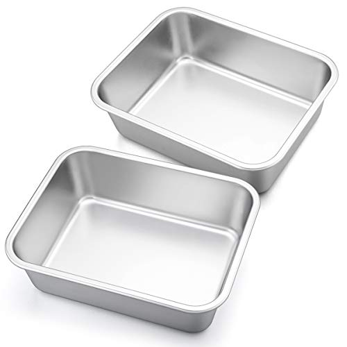 10.7-inch Deep Dish Lasagna Pan Set, P&P CHEF 2-Pcs Stainless Steel Rectangular Casserole Pans, Oblong Metal Bakeware for Roasting, Baking, Cooking, Non-toxic & Healthy, Brushed Surface & Easy Clean