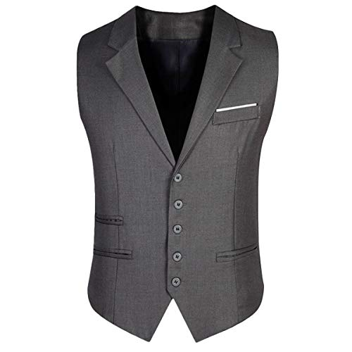 YOUTHUP heren pak vest enkele rijen grijs antraciet vest business V-hals slim fit pak vest
