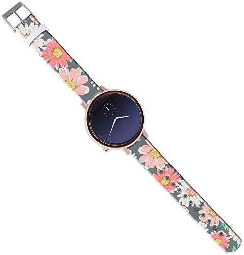 Time Round Strap,14Mm Watch Strap Band Leather Compatible with Pebble Time Round Replacement with Quick Release Pins Vintage Daisy Painting