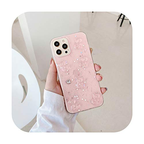 3D Bear Love Heart Glitter Funda transparente para iPhone 12 Pro Max XR X XS iPhone 7 8 Plus SE 2020 11 Pro Max Clear Phone Cover-Bear-P-Para iPhone 12 12pro