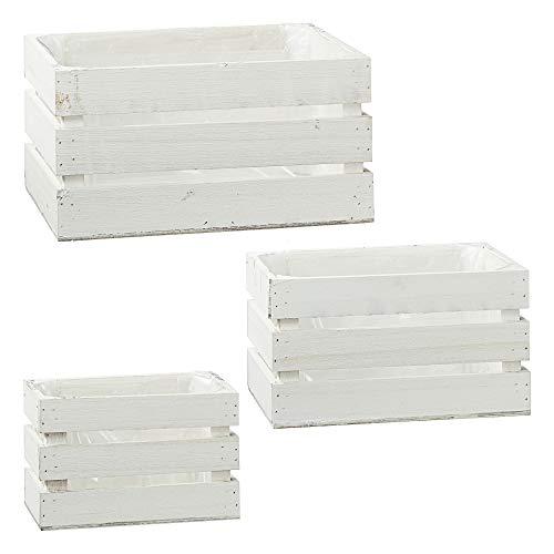 Kisten 3er Set aus Holz in weiß im Vintage Look Holzkiste im Landhausstil Weinkisten Kästen